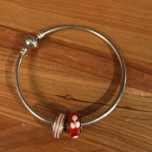 Pandora bracelet and two charms